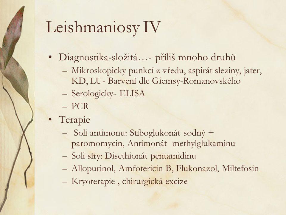 Leishmaniosy IV Diagnostika-složitá…- příliš mnoho druhů –Mikroskopicky punkcí z vředu, aspirát sleziny, jater, KD, LU- Barvení dle Giemsy-Romanovskéh