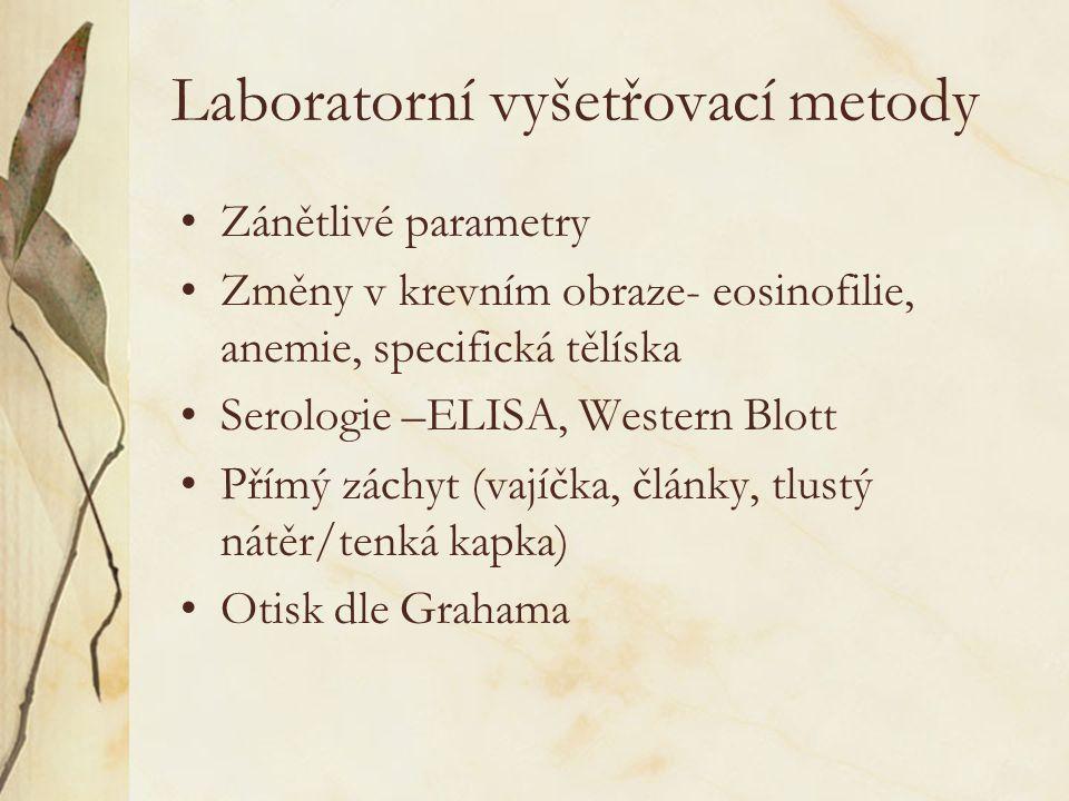 Laboratorní vyšetřovací metody Zánětlivé parametry Změny v krevním obraze- eosinofilie, anemie, specifická tělíska Serologie –ELISA, Western Blott Pří