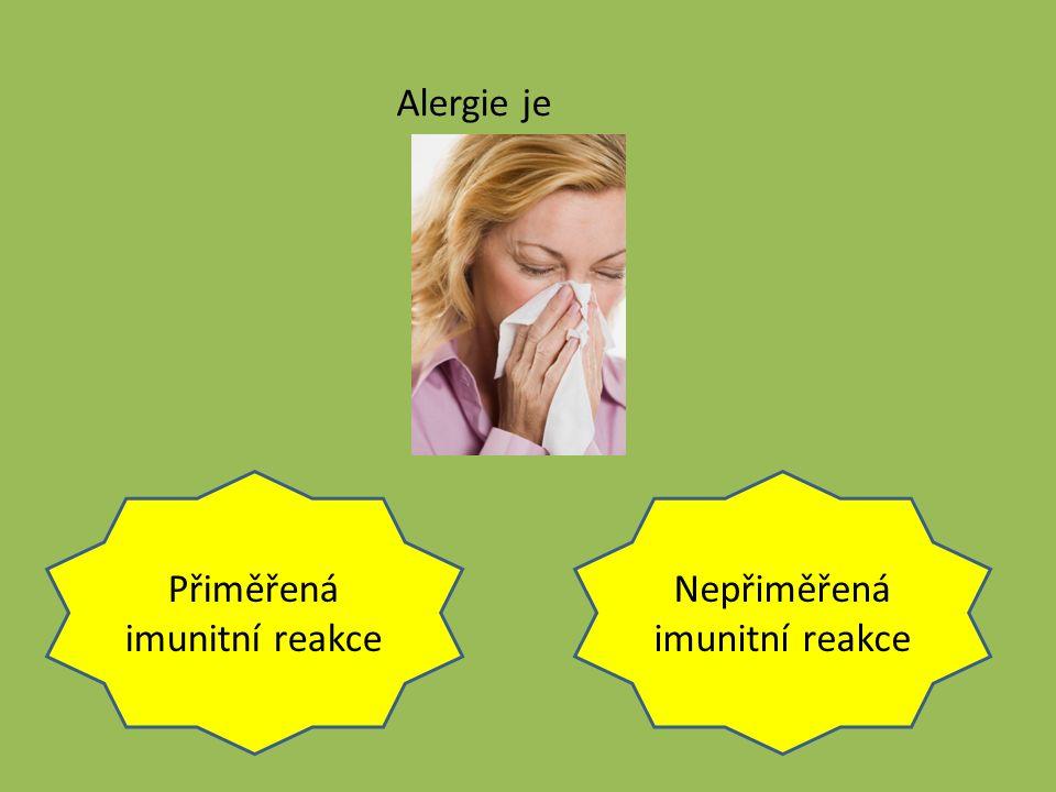 Přiměřená imunitní reakce Nepřiměřená imunitní reakce Alergie je