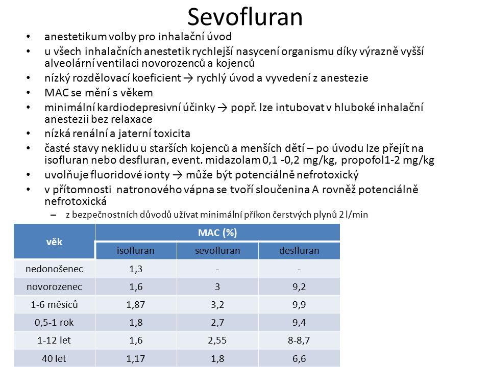 Sevofluran anestetikum volby pro inhalační úvod u všech inhalačních anestetik rychlejší nasycení organismu díky výrazně vyšší alveolární ventilaci nov