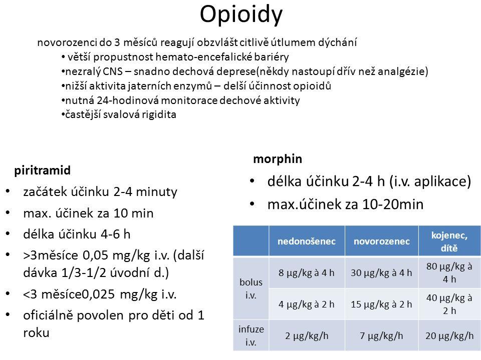 Opioidy piritramid začátek účinku 2-4 minuty max. účinek za 10 min délka účinku 4-6 h ˃3měsíce 0,05 mg/kg i.v. (další dávka 1/3-1/2 úvodní d.) ˂3 měsí