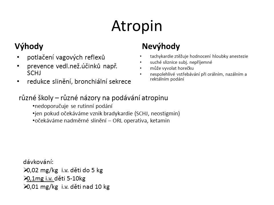 Atropin Výhody potlačení vagových reflexů prevence vedl.než.účinků např. SCHJ redukce slinění, bronchiální sekrece Nevýhody tachykardie ztěžuje hodnoc