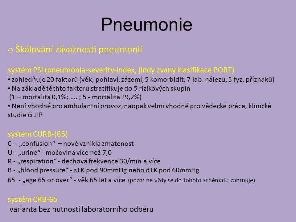 Pneumonie o Škálování závažnosti pneumonií systém PSI (pneumonia-severity-index, jindy zvaný klasifikace PORT) zohledňuje 20 faktorů (věk, pohlaví, zázemí, 5 komorbidit, 7 lab.