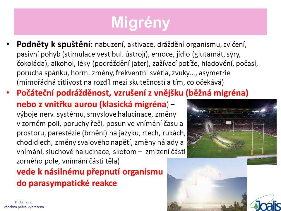 Migrény Podněty k spuštění: nabuzení, aktivace, dráždění organismu, cvičení, pasivní pohyb (stimulace vestibul.
