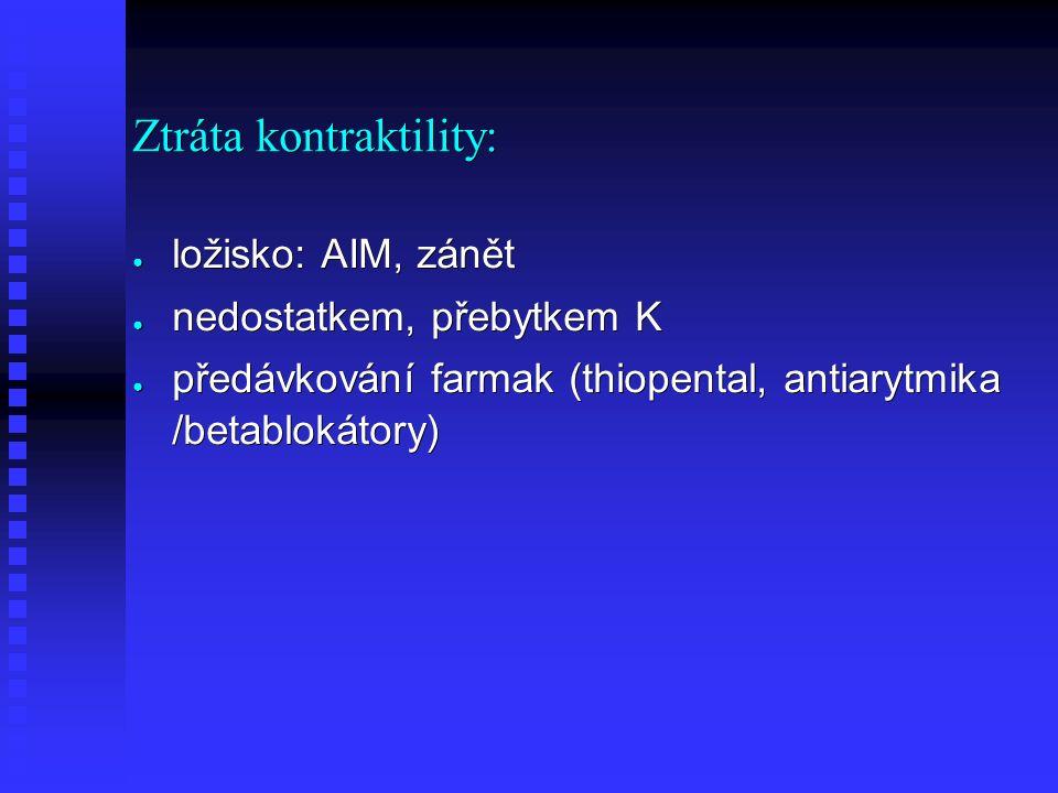 Ztráta kontraktility: ● ložisko: AIM, zánět ● nedostatkem, přebytkem K ● předávkování farmak (thiopental, antiarytmika /betablokátory)
