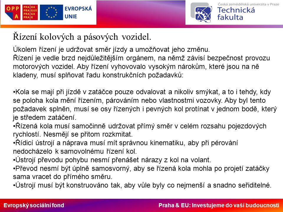 Evropský sociální fond Praha & EU: Investujeme do vaší budoucnosti Řízení kolových a pásových vozidel.
