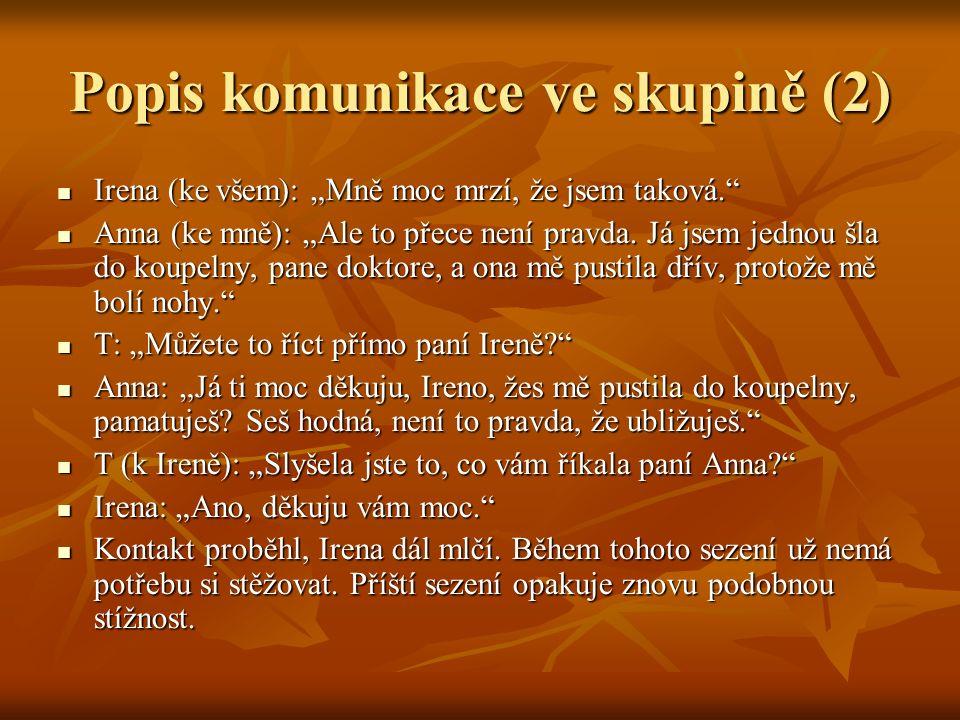 """Popis komunikace ve skupině (2) Irena (ke všem): """"Mně moc mrzí, že jsem taková. Irena (ke všem): """"Mně moc mrzí, že jsem taková. Anna (ke mně): """"Ale to přece není pravda."""