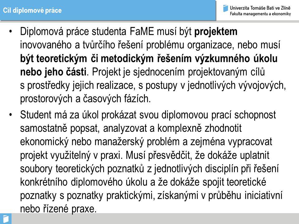 Cíl diplomové práce Diplomová práce studenta FaME musí být projektem inovovaného a tvůrčího řešení problému organizace, nebo musí být teoretickým či metodickým řešením výzkumného úkolu nebo jeho části.