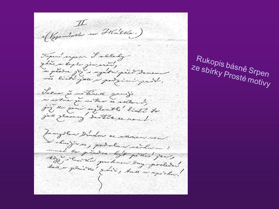 Rukopis básně Srpen ze sbírky Prosté motivy