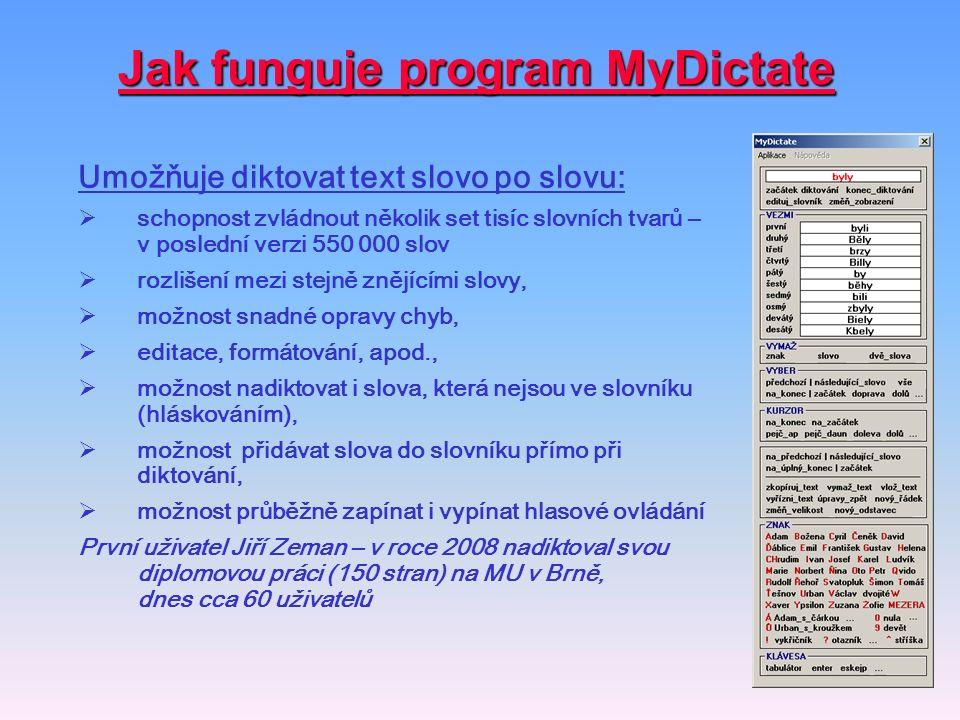 Jak funguje program MyDictate Umožňuje diktovat text slovo po slovu:  schopnost zvládnout několik set tisíc slovních tvarů – v poslední verzi 550 000