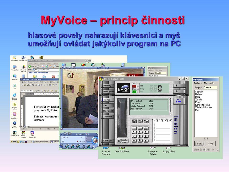 MyVoice – princip činnosti hlasové povely nahrazují klávesnici a myš umožňují ovládat jakýkoliv program na PC