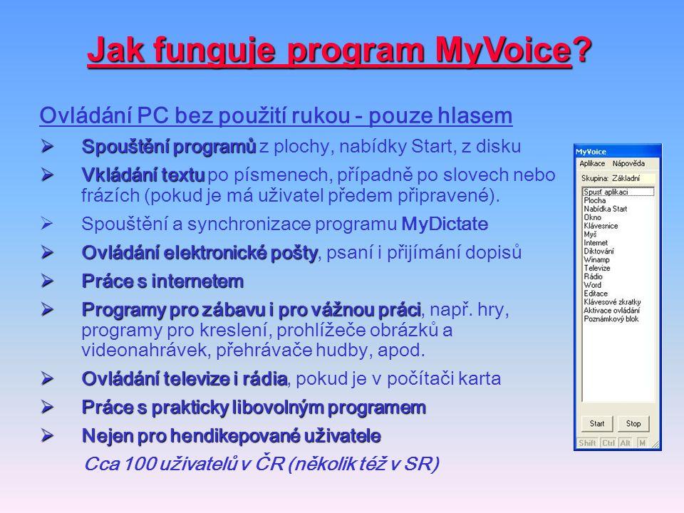 Jak funguje program MyVoice? Ovládání PC bez použití rukou - pouze hlasem  Spouštění programů  Spouštění programů z plochy, nabídky Start, z disku 