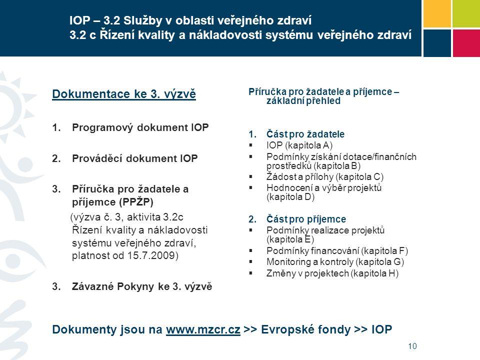 10 IOP – 3.2 Služby v oblasti veřejného zdraví 3.2 c Řízení kvality a nákladovosti systému veřejného zdraví Dokumentace ke 3. výzvě  Programový doku