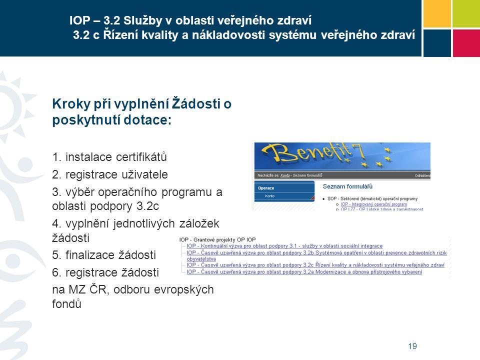 19 IOP – 3.2 Služby v oblasti veřejného zdraví 3.2 c Řízení kvality a nákladovosti systému veřejného zdraví Kroky při vyplnění Žádosti o poskytnutí do