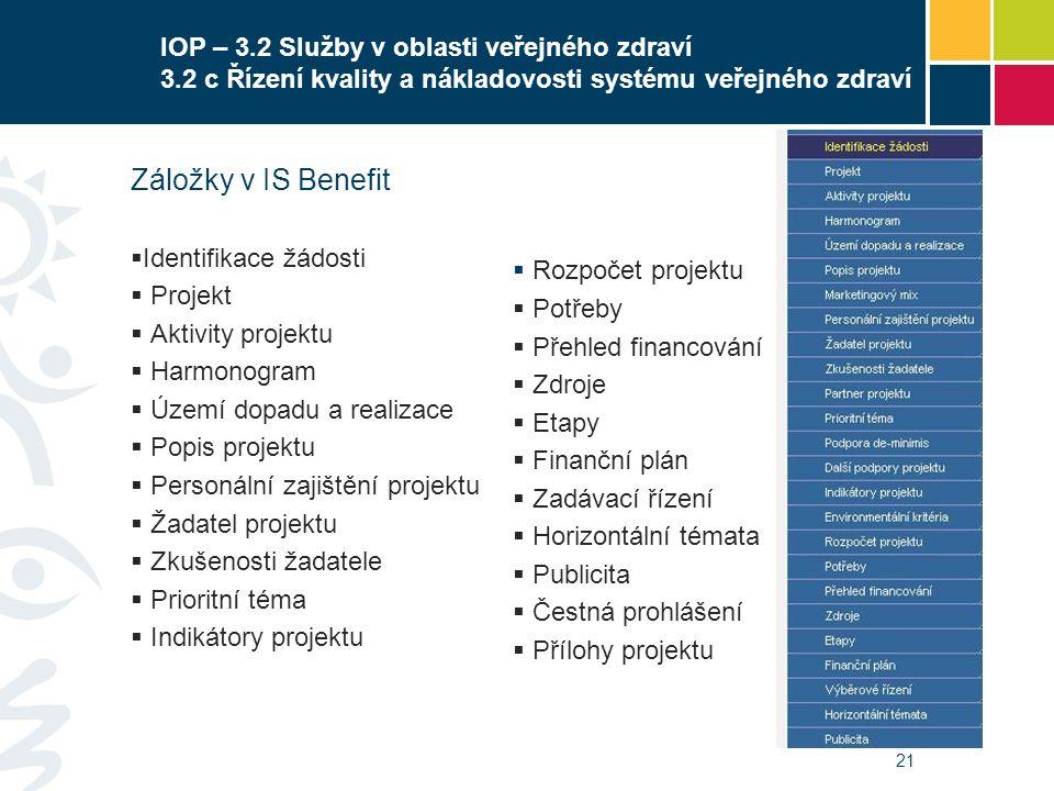 21 IOP – 3.2 Služby v oblasti veřejného zdraví 3.2 c Řízení kvality a nákladovosti systému veřejného zdraví Záložky v IS Benefit  Identifikace žádost