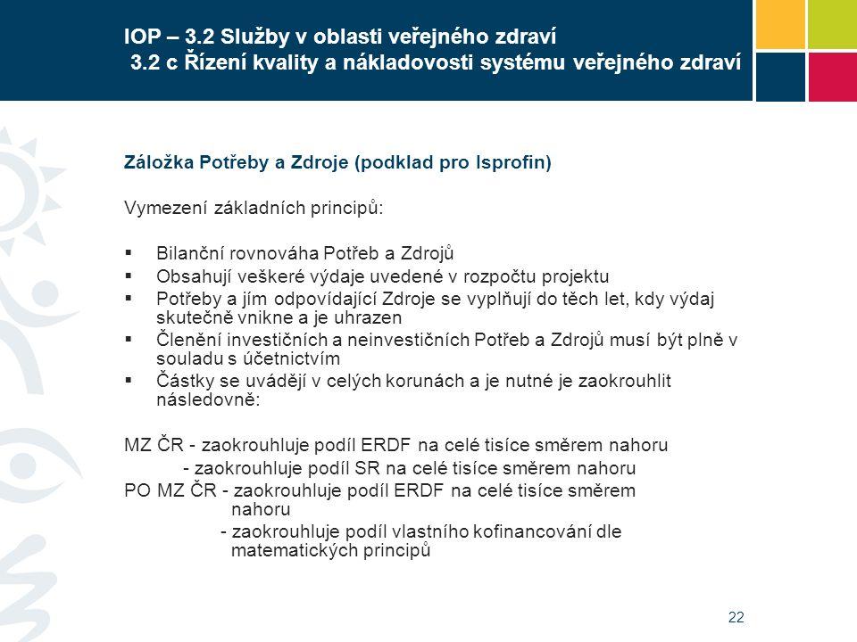 22 IOP – 3.2 Služby v oblasti veřejného zdraví 3.2 c Řízení kvality a nákladovosti systému veřejného zdraví Záložka Potřeby a Zdroje (podklad pro Ispr