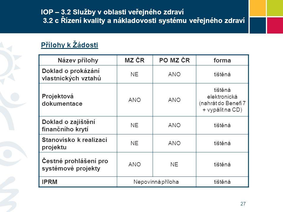 27 IOP – 3.2 Služby v oblasti veřejného zdraví 3.2 c Řízení kvality a nákladovosti systému veřejného zdraví Přílohy k Žádosti Název přílohyMZ ČRPO MZ