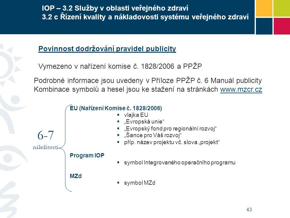 43 IOP – 3.2 Služby v oblasti veřejného zdraví 3.2 c Řízení kvality a nákladovosti systému veřejného zdraví EU (Nařízení Komise č. 1828/2006)  vlajka