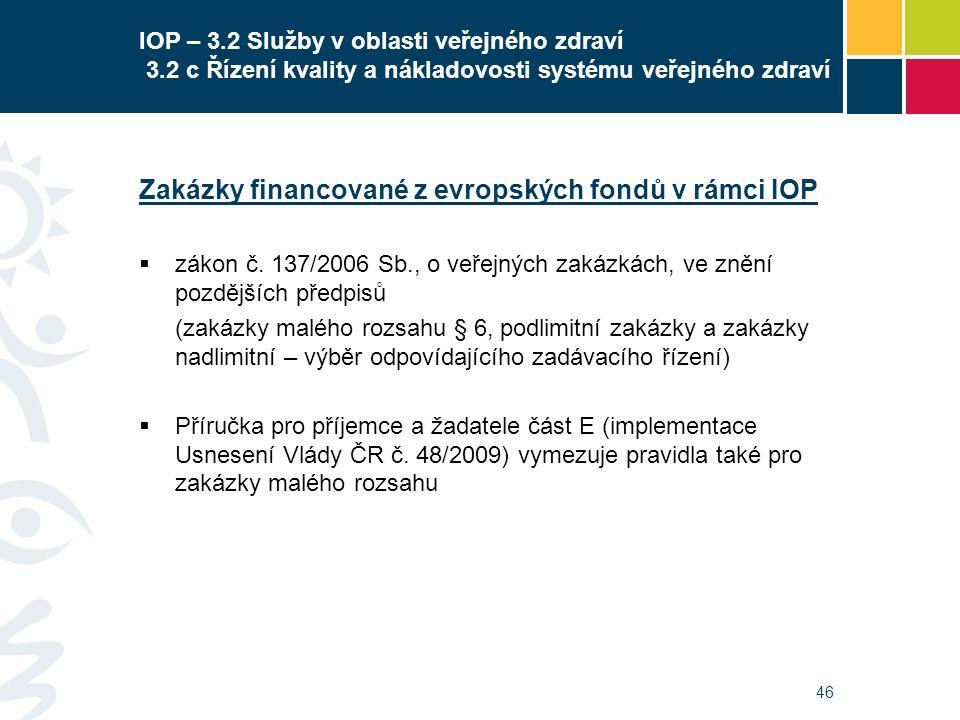 46 IOP – 3.2 Služby v oblasti veřejného zdraví 3.2 c Řízení kvality a nákladovosti systému veřejného zdraví Zakázky financované z evropských fondů v r