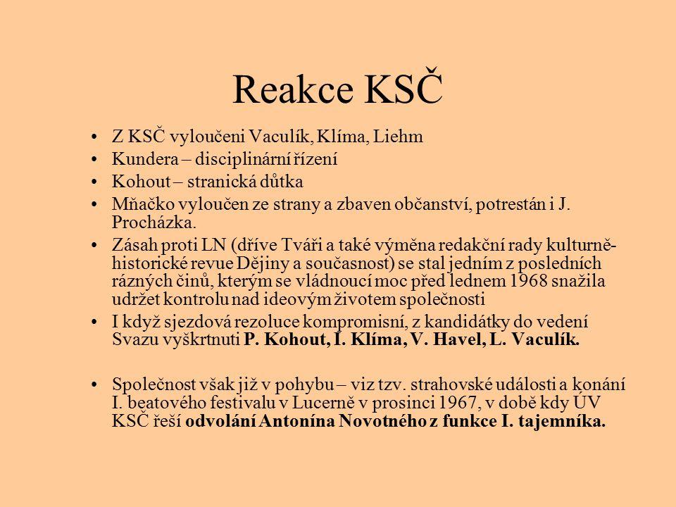 Reakce KSČ Z KSČ vyloučeni Vaculík, Klíma, Liehm Kundera – disciplinární řízení Kohout – stranická důtka Mňačko vyloučen ze strany a zbaven občanství, potrestán i J.