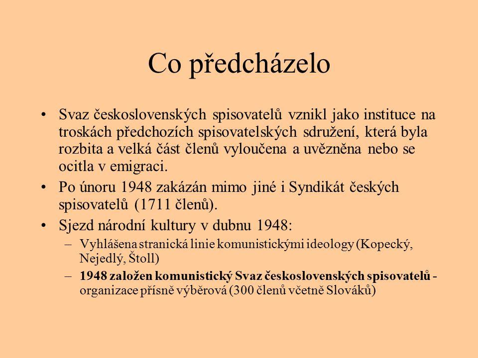 Co předcházelo Svaz československých spisovatelů vznikl jako instituce na troskách předchozích spisovatelských sdružení, která byla rozbita a velká část členů vyloučena a uvězněna nebo se ocitla v emigraci.