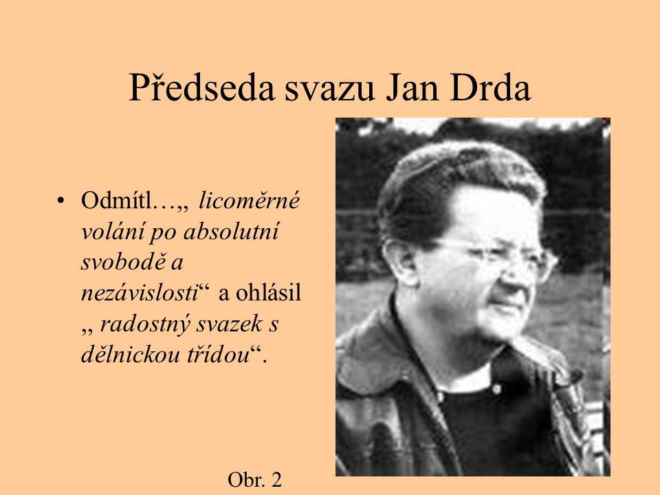Předseda svazu Jan Drda Odmítl…,, licoměrné volání po absolutní svobodě a nezávislosti a ohlásil,, radostný svazek s dělnickou třídou .