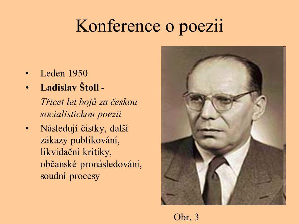Konference o poezii Leden 1950 Ladislav Štoll - Třicet let bojů za českou socialistickou poezii Následují čistky, další zákazy publikování, likvidační kritiky, občanské pronásledování, soudní procesy Obr.