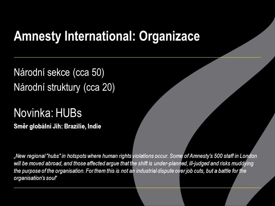 """Amnesty International: Organizace Národní sekce (cca 50) Národní struktury (cca 20) Novinka: HUBs Směr globální Jih: Brazílie, Indie """" New regional hubs in hotspots where human rights violations occur."""