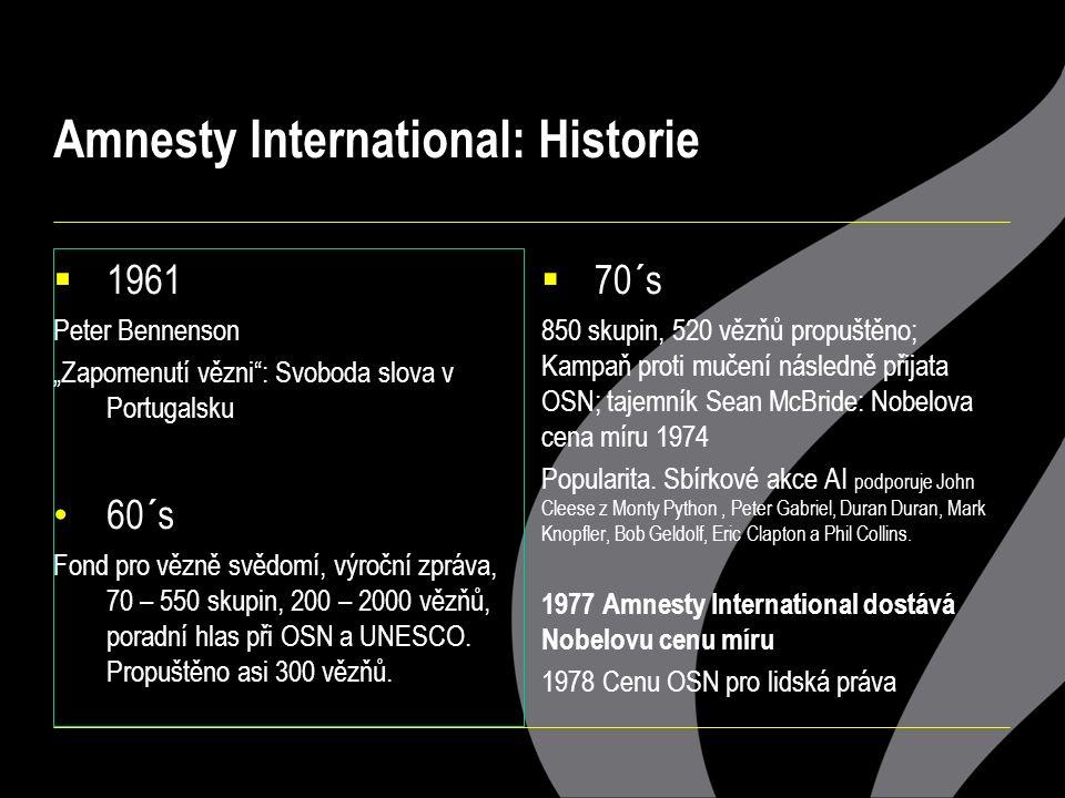 """Amnesty International: Historie  1961 Peter Bennenson """"Zapomenutí vězni : Svoboda slova v Portugalsku 60´s Fond pro vězně svědomí, výroční zpráva, 70 – 550 skupin, 200 – 2000 vězňů, poradní hlas při OSN a UNESCO."""