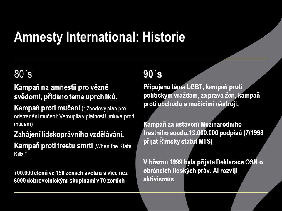 Amnesty International: Historie 80´s Kampaň na amnestii pro vězně svědomí, přidáno téma uprchlíků.