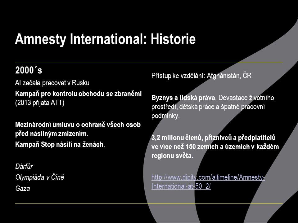 Amnesty International: Historie 2000´s AI začala pracovat v Rusku Kampaň pro kontrolu obchodu se zbraněmi (2013 přijata ATT) Mezinárodní úmluvu o ochraně všech osob před násilným zmizením.