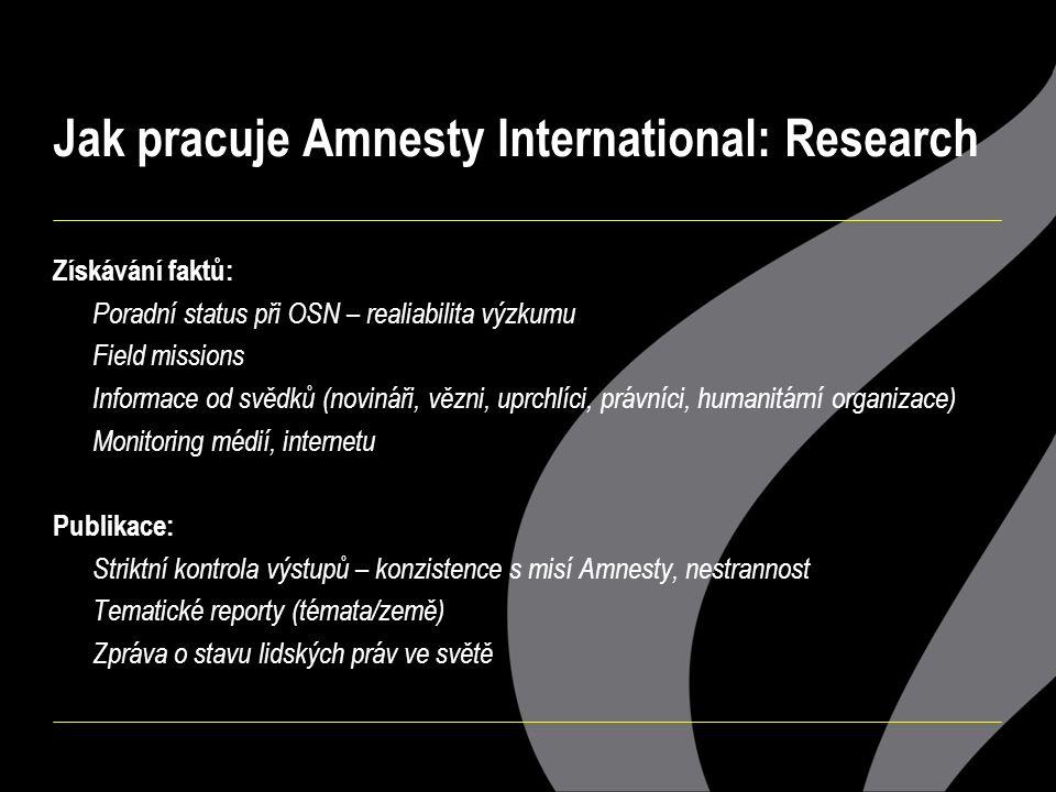 Jak pracuje Amnesty International: Research Získávání faktů: Poradní status při OSN – realiabilita výzkumu Field missions Informace od svědků (novináři, vězni, uprchlíci, právníci, humanitární organizace) Monitoring médií, internetu Publikace: Striktní kontrola výstupů – konzistence s misí Amnesty, nestrannost Tematické reporty (témata/země) Zpráva o stavu lidských práv ve světě