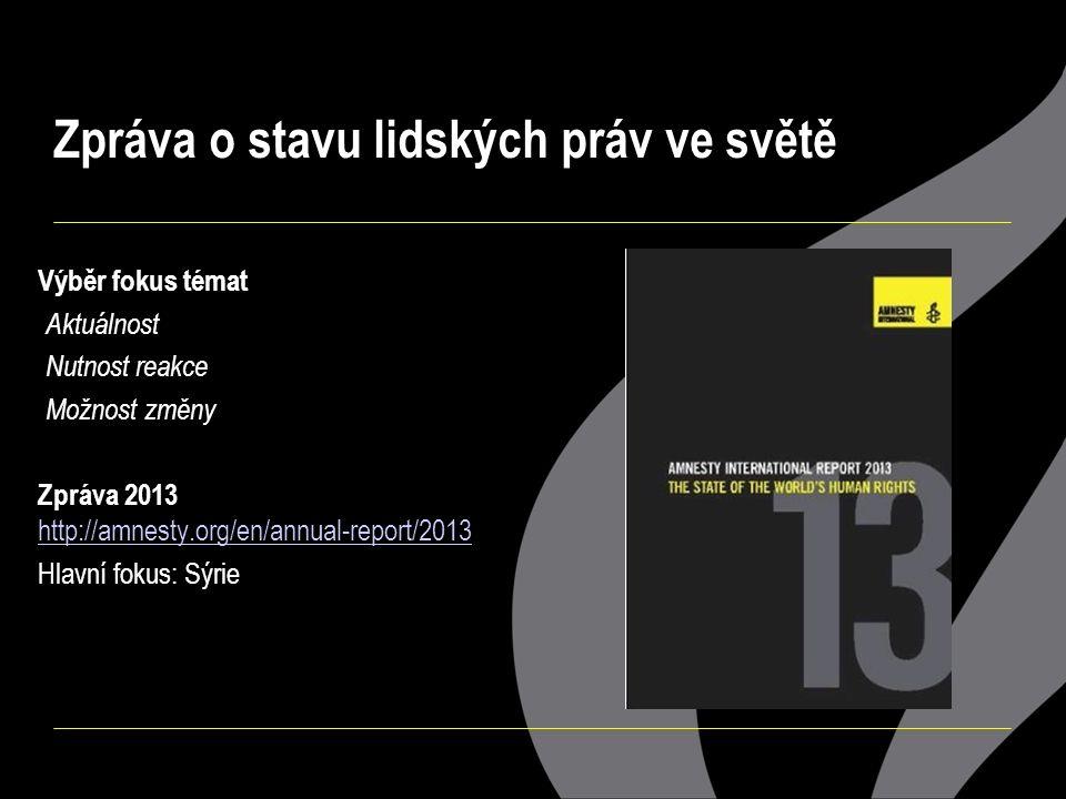 Výběr fokus témat - Aktuálnost - Nutnost reakce - Možnost změny Zpráva 2013 http://amnesty.org/en/annual-report/2013 http://amnesty.org/en/annual-repo