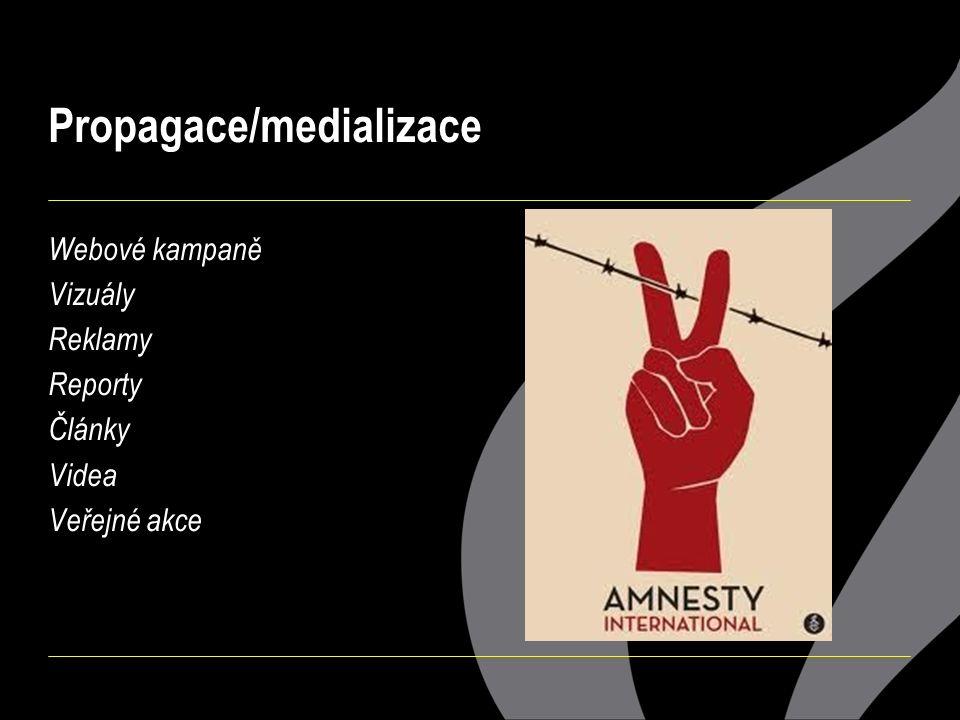 Propagace/medializace Webové kampaně Vizuály Reklamy Reporty Články Videa Veřejné akce