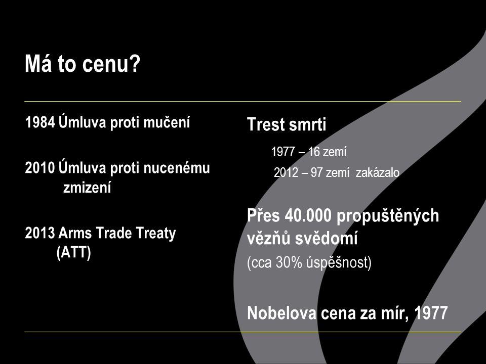 Má to cenu? 1984 Úmluva proti mučení 2010 Úmluva proti nucenému zmizení 2013 Arms Trade Treaty (ATT) Trest smrti 1977 – 16 zemí 2012 – 97 zemí zakázal