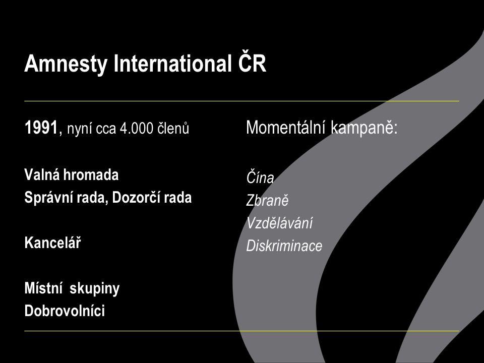 Amnesty International ČR 1991, nyní cca 4.000 členů Valná hromada Správní rada, Dozorčí rada Kancelář Místní skupiny Dobrovolníci Momentální kampaně: