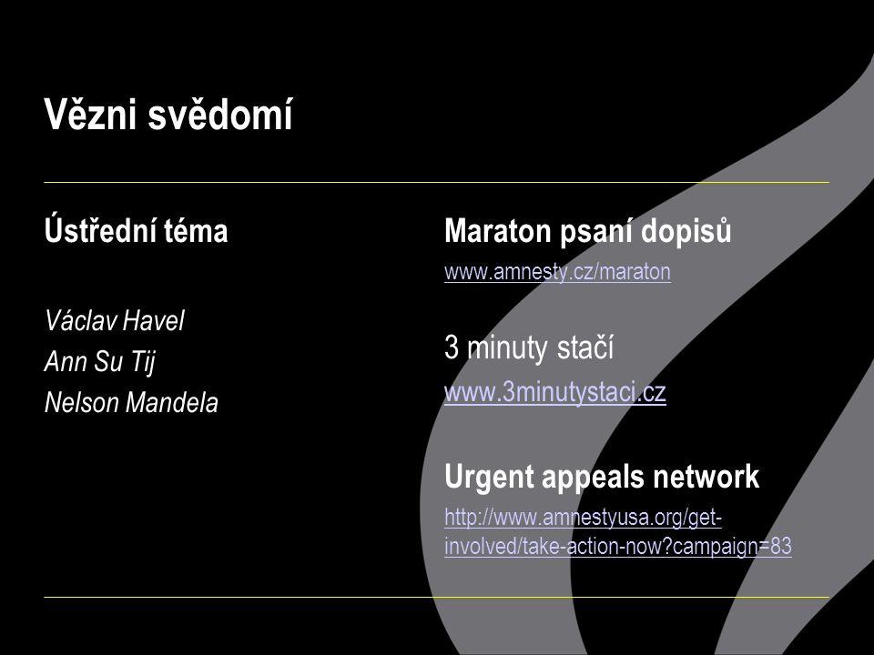 Vězni svědomí Ústřední téma Václav Havel Ann Su Tij Nelson Mandela Maraton psaní dopisů www.amnesty.cz/maraton 3 minuty stačí www.3minutystaci.cz Urgent appeals network http://www.amnestyusa.org/get- involved/take-action-now campaign=83