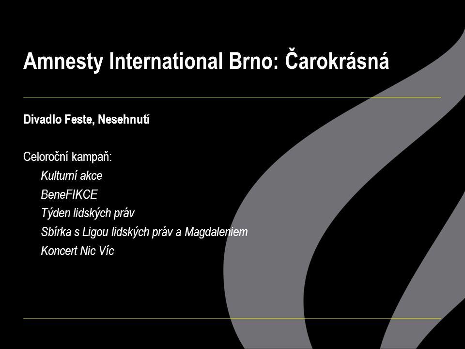 Amnesty International Brno: Čarokrásná Divadlo Feste, Nesehnutí Celoroční kampaň: Kulturní akce BeneFIKCE Týden lidských práv Sbírka s Ligou lidských práv a Magdaleniem Koncert Nic Víc