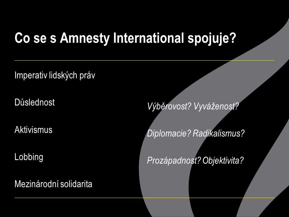 Co se s Amnesty International spojuje? Imperativ lidských práv Důslednost Aktivismus Lobbing Mezinárodní solidarita Výběrovost? Vyváženost? Diplomacie