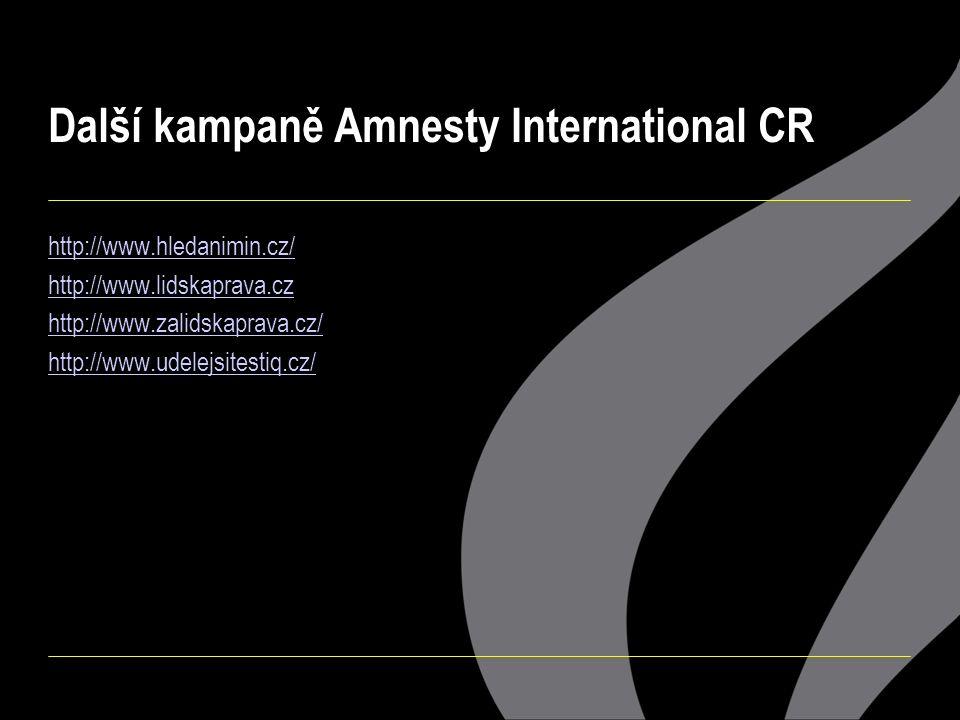 Další kampaně Amnesty International CR http://www.hledanimin.cz/ http://www.lidskaprava.cz http://www.zalidskaprava.cz/ http://www.udelejsitestiq.cz/