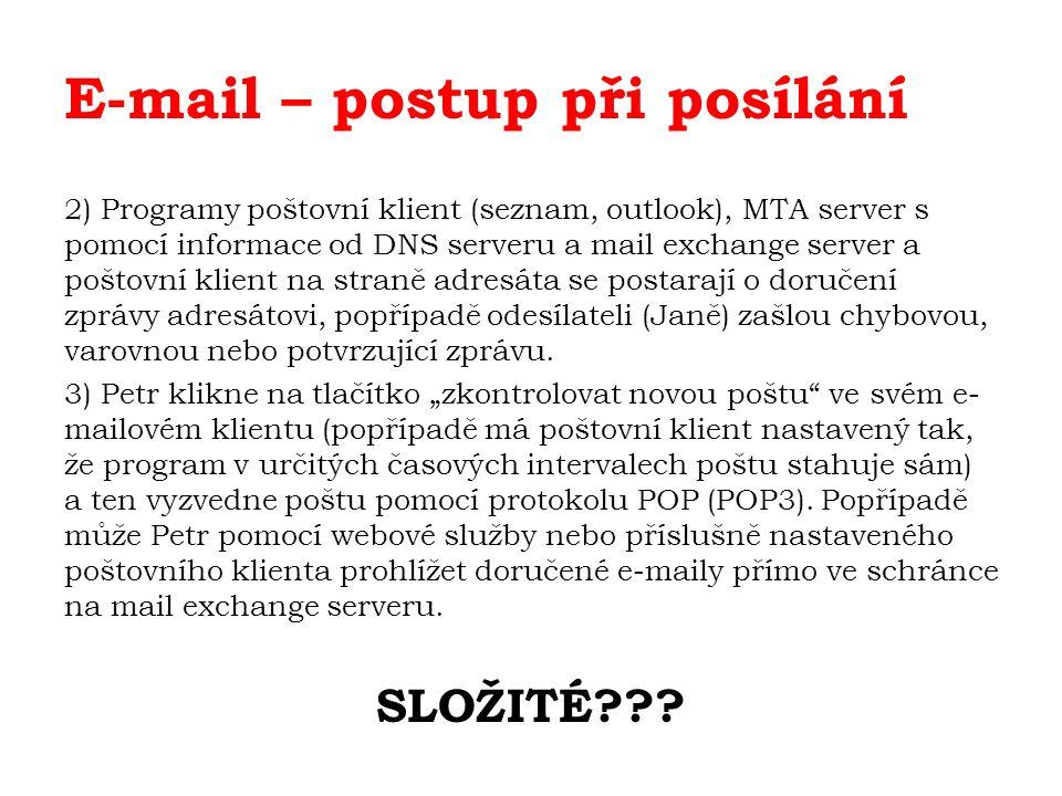E-mail – postup při posílání 2) Programy poštovní klient (seznam, outlook), MTA server s pomocí informace od DNS serveru a mail exchange server a poštovní klient na straně adresáta se postarají o doručení zprávy adresátovi, popřípadě odesílateli (Janě) zašlou chybovou, varovnou nebo potvrzující zprávu.