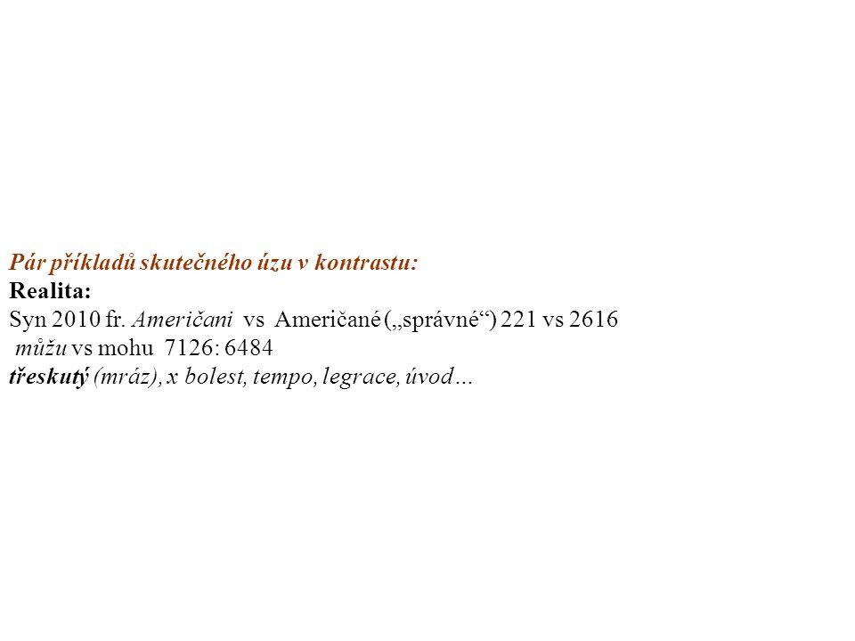 """Pár příkladů skutečného úzu v kontrastu: Realita: Syn 2010 fr. Američani vs Američané (""""správné"""") 221 vs 2616 můžu vs mohu 7126: 6484 třeskutý (mráz),"""