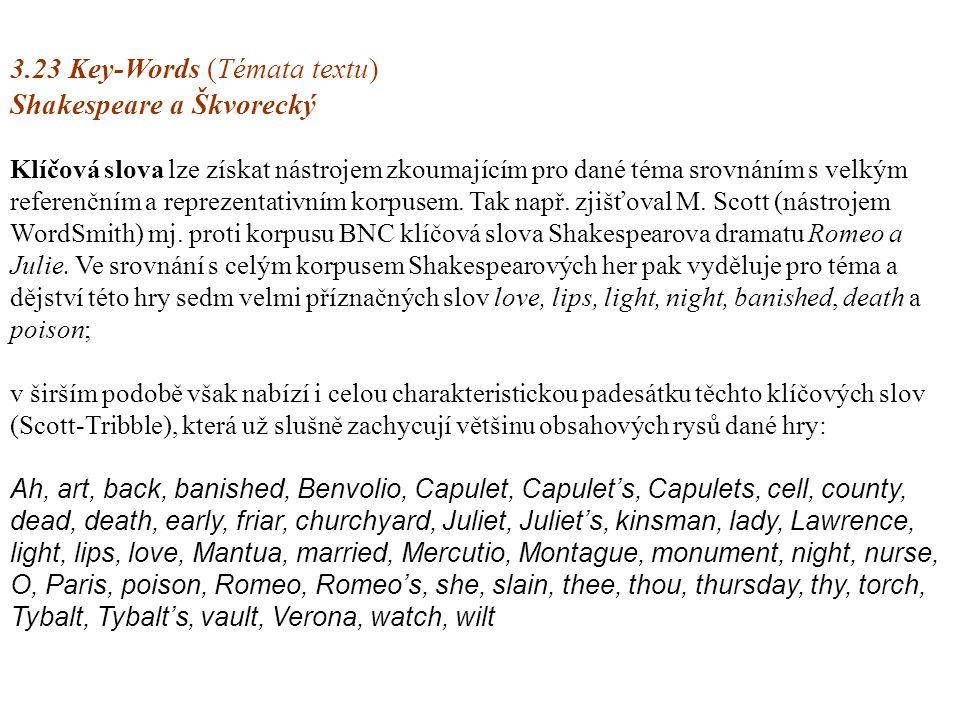 3.23 Key-Words (Témata textu) Shakespeare a Škvorecký 3.23 Key-Words (Témata textu) Shakespeare a Škvorecký Klíčová slova lze získat nástrojem zkoumajícím pro dané téma srovnáním s velkým referenčním a reprezentativním korpusem.