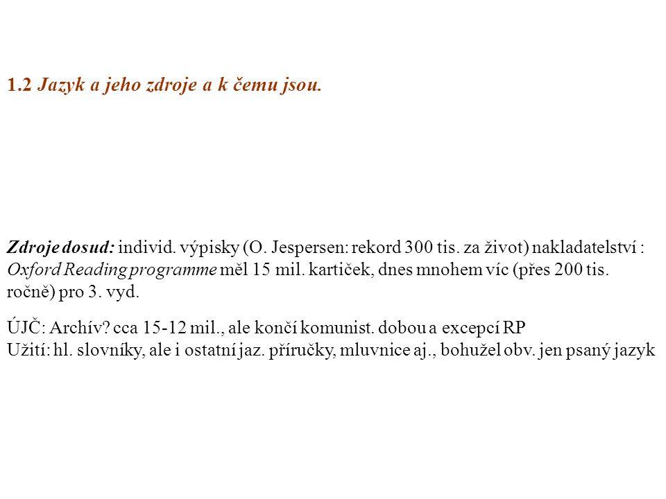 1.2 Jazyk a jeho zdroje a k čemu jsou. Zdroje dosud: individ. výpisky (O. Jespersen: rekord 300 tis. za život) nakladatelství : Oxford Reading program