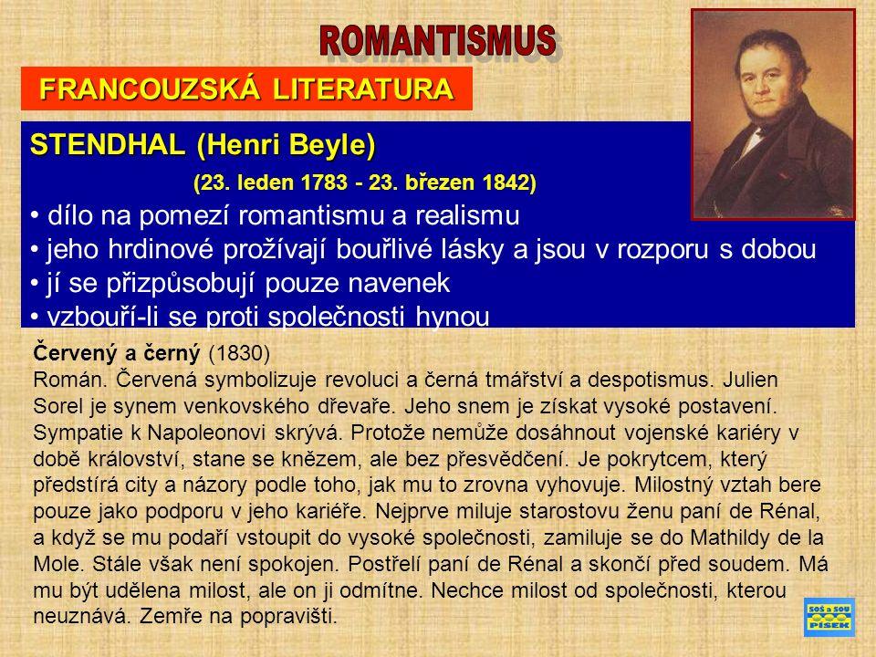 FRANCOUZSKÁ LITERATURA STENDHAL (Henri Beyle) (23.