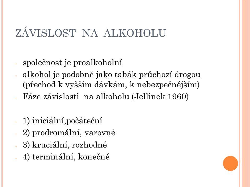 ZÁVISLOST NA ALKOHOLU - společnost je proalkoholní - alkohol je podobně jako tabák průchozí drogou (přechod k vyšším dávkám, k nebezpečnějším) - Fáze závislosti na alkoholu (Jellinek 1960) - 1) iniciální,počáteční - 2) prodromální, varovné - 3) kruciální, rozhodné - 4) terminální, konečné