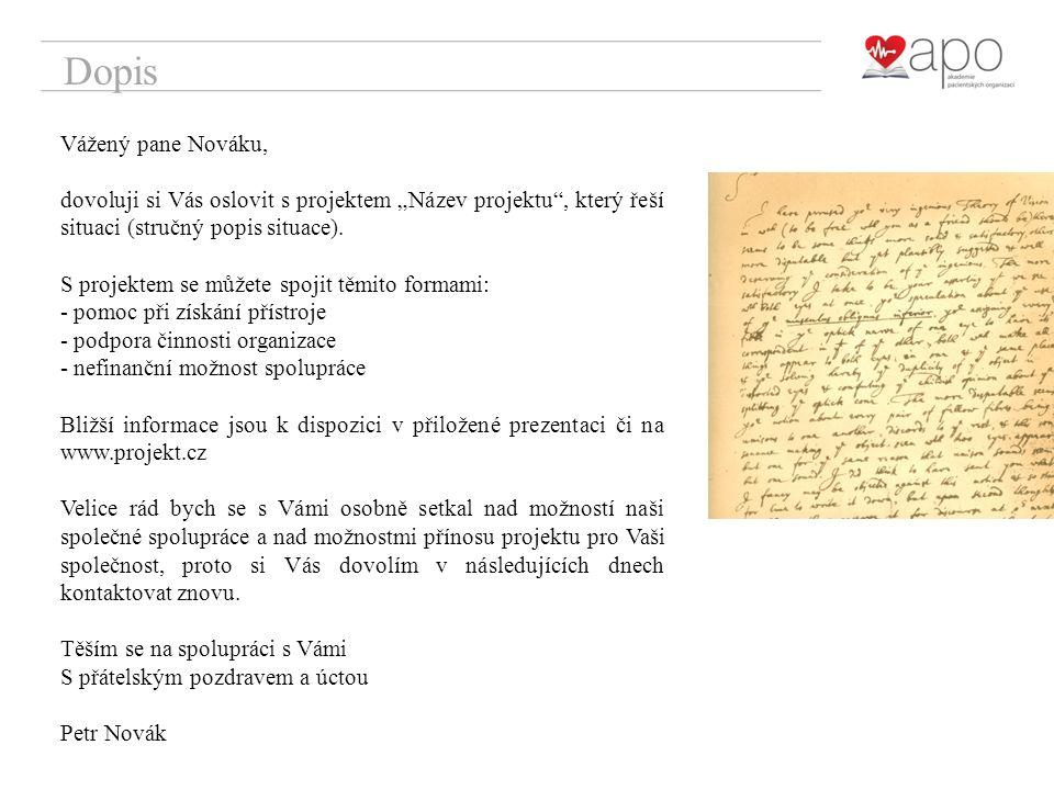 """Dopis Vážený pane Nováku, dovoluji si Vás oslovit s projektem """"Název projektu , který řeší situaci (stručný popis situace)."""