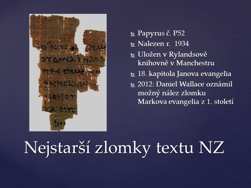 Nejstarší zlomky textu NZ  Papyrus č. P52  Nalezen r.