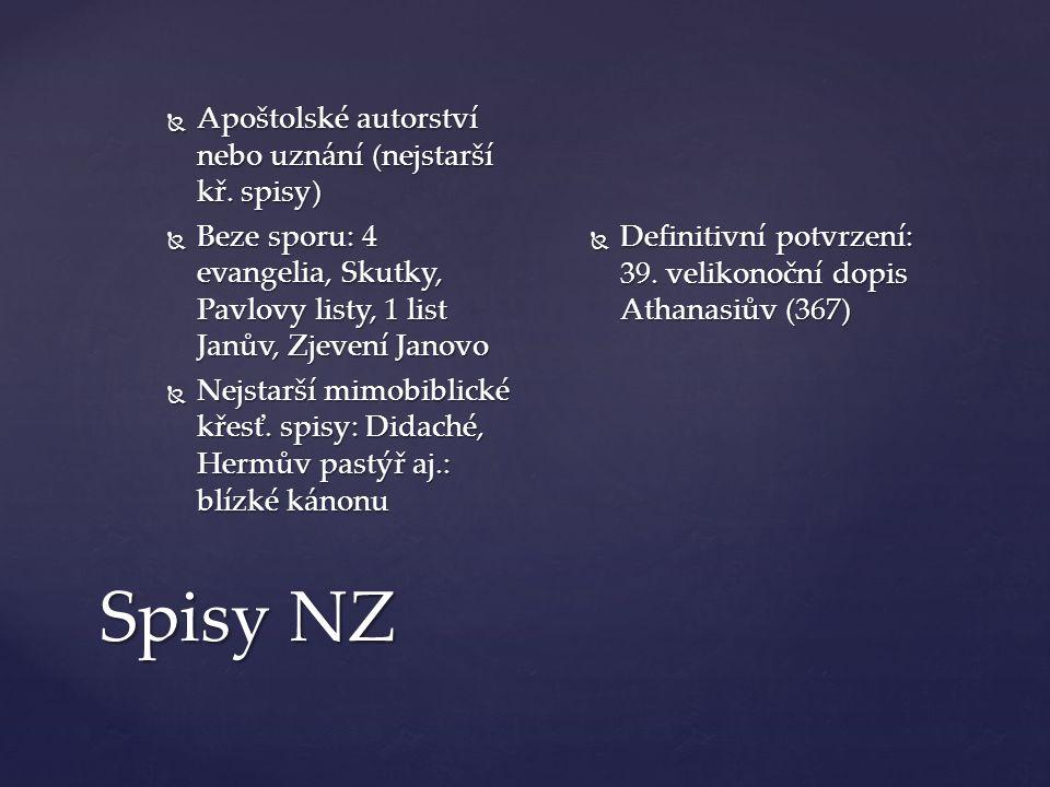 Spisy NZ  Apoštolské autorství nebo uznání (nejstarší kř.