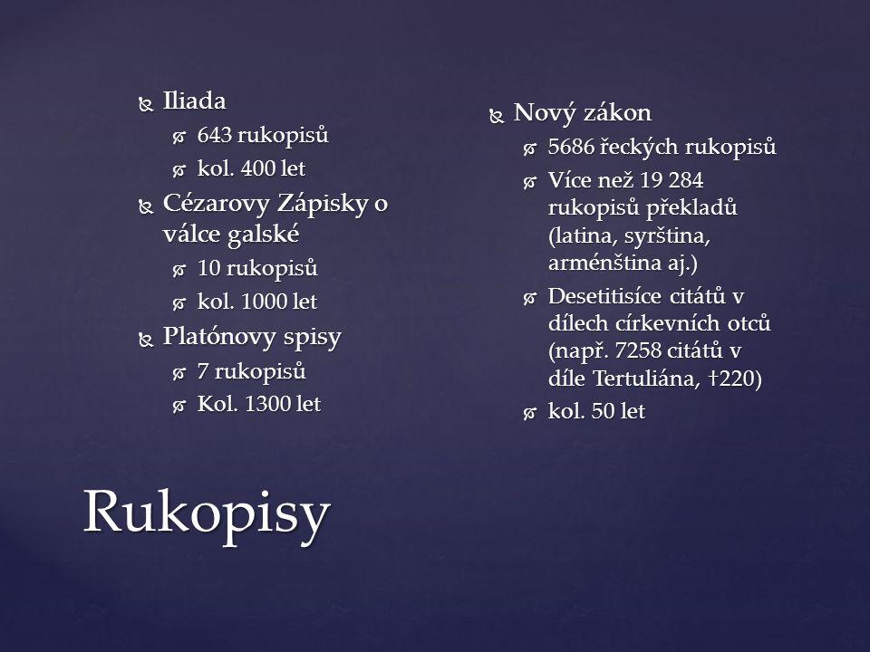 Rukopisy  Iliada  643 rukopisů  kol. 400 let  Cézarovy Zápisky o válce galské  10 rukopisů  kol. 1000 let  Platónovy spisy  7 rukopisů  Kol.